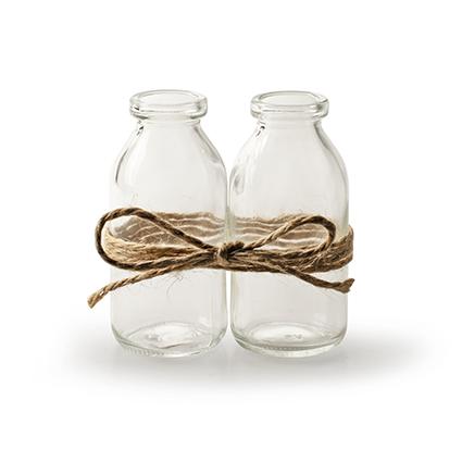 Set van 2 flesjes met touw h10,5 cm