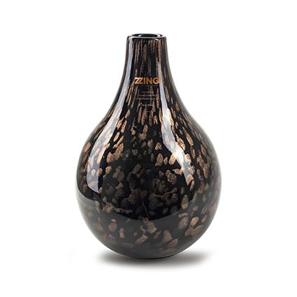 Zzing vaas 'jeanny' zwart/goud h28 d19 cm