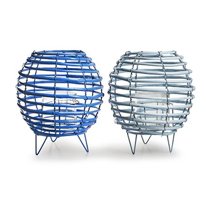 lantaarn met glas 'luna' blauw 2-ass. h27 d24 cm
